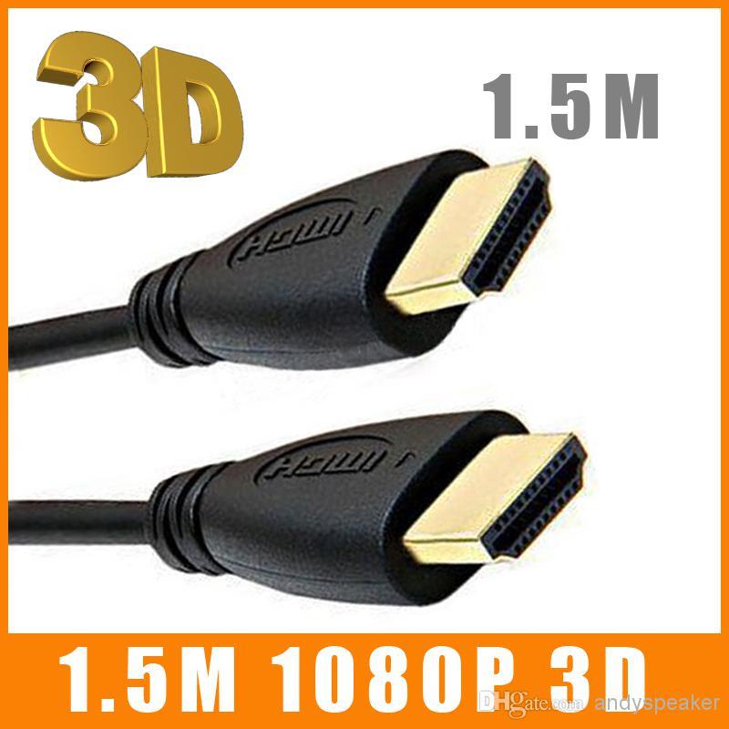 1.5M 5FT HDMI إلى HDMI كابل v1.4 كابل الصوت / الفيديو الإصدار 1.4 الذهب 1080P 100pcs التي