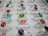 Wholesale Cheap Cz Engagement Rings - Fashion Lady Silver Plated CZ Ring Multicolor Alloy Plating Cheap Jewelry Wholesale Free Shipping New Arrival