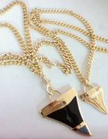 Wholesale Tooth Pendant Necklace - Fashion 18k gold oil painting shark tooth pendant necklace,high quality European American jewelry free shipping