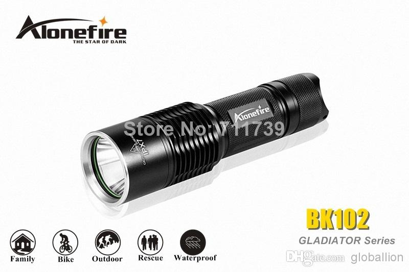 AloneFire GLADIATOR Series BK102 CREE XM-L2 LED 5 mode Long range led flashlight torch For 1x18650 /1x26650 / 3x Dry cell battery