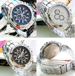 Wholesale Orlando Wristwatch - Fashion ORLANDO Men's Watch Silver Strap casual Platinum Man Wrist Watch Stainless Steel fashion 3 eyes Quartz Wristwatches