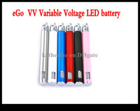 Wholesale Ego Color Battery Led - ego vv battery Variable Voltage LED battery E cigarette 650mah 900mah 1100mah for various atomizer all kinds of color instock AAA quality