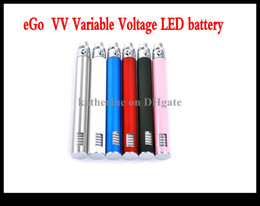 Wholesale Led Kinder - ego vv battery Variable Voltage LED battery E cigarette 650mah 900mah 1100mah for various atomizer all kinds of color instock AAA quality