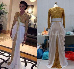 Wholesale Long Strapless Chiffon Dresses - SSJ 2014 New Arrival Sexy Dubai Hijab Gold Sequins Prom Dresses Gown A-Line V-Neck 3 4Long Sleeve Pleated Long Party Gown Evening Dress