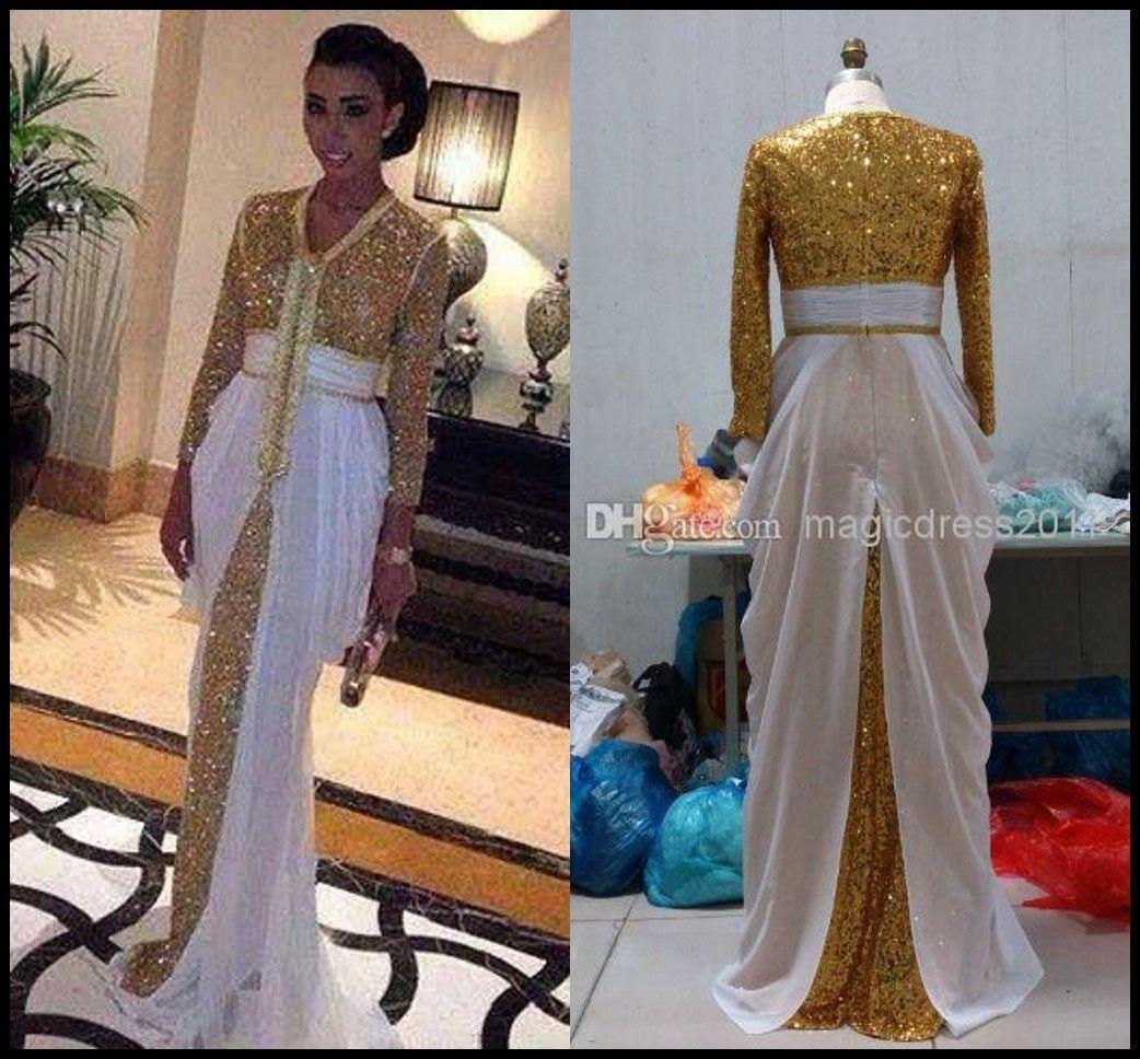 fdf15040c4 2015 Sexy Dubai Gold Sequins White Chiffon Kaftan Evening Dresses A Line V  Neck Pleated 3 4Long Sleeve Sweep Train Prom Gown Formal Dress Summer  Dresses ...