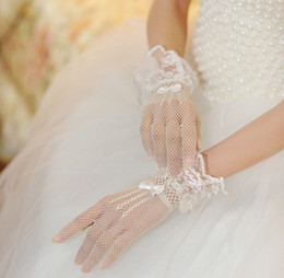 Wholesale Lace Mesh Bridal - Mesh lace short gloves bridal gloves wedding gloves free shipping wholesales Korea style wedding gloves