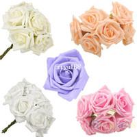 Wholesale Latex Flowers Roses - 30pcs set Beauty Bridal Bouquet Rose Flower Head Hand Party Wedding Bridesmaid Decoration Posy Latex