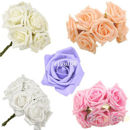 Wholesale Latex Rose Bouquet - 30pcs set Beauty Bridal Bouquet Rose Flower Head Hand Party Wedding Bridesmaid Decoration Posy Latex