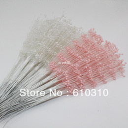 Wholesale Pearl Bouquet Diy - Free Shipping Wholesale white Pearl spray Wedding Bouquet stick pearl stem Cakes toppers DIY bride ornamental(100pcs lot)