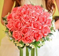 ingrosso nave di goccia del fiore di seta-Il trasporto libero di alta qualità di seta artificiale mani della sposa che tiene fiore rosa bouquet da sposa matrimonio 6 colori trasporto di goccia, PH0049