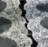 Wholesale 1t Lace Wedding Cathedral Veil - New 1T Cathedral White  Ivory Elegant Lace Applique Edge Long Wedding Veil Accessories 3 Meter Long Free Shipping