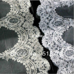 Wholesale Ivory 1t Cathedral Wedding Veils - New 1T Cathedral White  Ivory Elegant Lace Applique Edge Long Wedding Veil Accessories 3 Meter Long Free Shipping