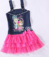Wholesale Girls Guaze - children denim dress frozen dress elsa anna summer dress tutu cowboy dress summer girls sleeveless princess tutu dress guaze dress hot sale