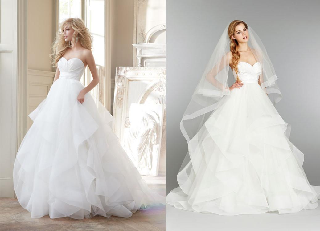 2014 Ball Gown Wedding Dresses Crossover Bodice Full Tulle Skirt ...