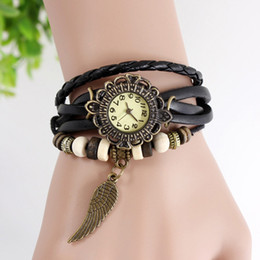 Wholesale Elegant Roman style TREE LEAF Leather Band Weaving Angel Wings Quartz Vintage Watch Girls Lady Women Bracelet Watches