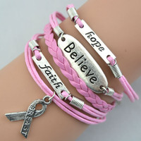 Wholesale Unisex Breast Cancer Bracelets - Hot Retro Fashion Charms Believe Faith Hope Breast Cancer Awareness Bracelets Fashion Personality Bracelets Handmade Jewellery