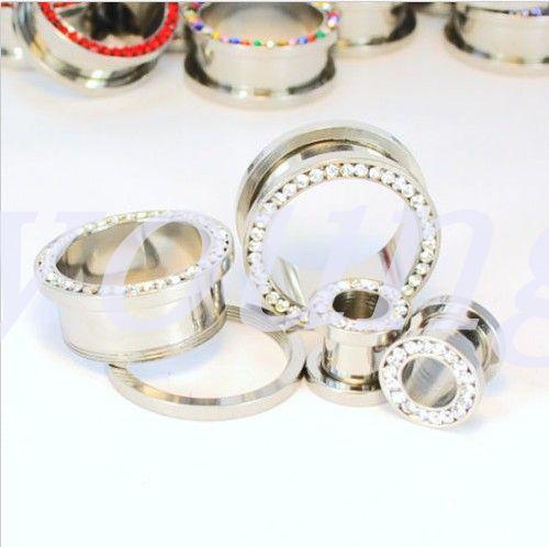 Crystal Ear Gauges joyería piercing del cuerpo de Helix pirsing 48 pc / lot incluye 6 colores Envío gratis
