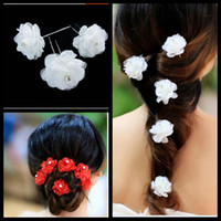 Wholesale Wedding Hair Clip Ivory - Free Shipping Wedding Bridal Hair Comb Ivory wedding bridal flower Hair Pins up Wedding Bridal Jewelry Hair Jewelry Accessories
