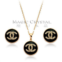 Wholesale Earring Gold Plated Italina - Wholesale-Italina Rigant Jewelry wholesale,Free Shipping 18K Rose Gold Plated And Austrian Crystal earrings and necklace jewelry set