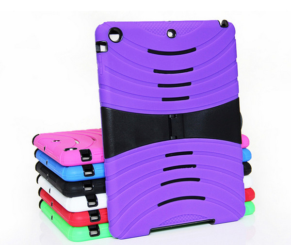 High quality Hybrid Dual Layer Protective PC + silicone Robot with stand Stripe case cover for ipad 5 air ipad mini mini 2 7 colors