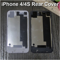 Wholesale Iphone 4s Back Housing Black - Glass Rear Cover for iPhone 4 4S Replacement Back Battery Case Door Housing Repair Part for iPhone 4 4S CDMA White Black Free DHL Shipping