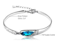 Wholesale Diamond Bangle Bracelet Silver 925 - New Style Luxurious Blue Diamond Bangle Bracelet 925 Sterling Silver Glass shoes Bracelet High Quality Austria Crystal Charm Bracelets