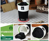 Wholesale Coffee Mug Sleeve - Wholesale-8oz starbucks via coffee mug with silicon band and lid custom travel cup without handle silicon sleeve cover 2mugs lot