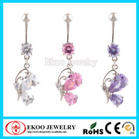 Zircon Dangling mignon papillon nombril nombril anneau Belly Bar 3 couleurs belle Style Body piercing bijoux