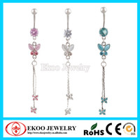 14G Cute Butterfly Rhinestone Dangling Navel Ring Long Dangle anillo del ombligo colores mezclados Body Piercing Jewelry