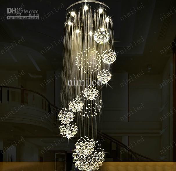 Dia 80xH220cm LED Crystal Light современные спиральная лестница лампы висит люстра кулон Dorplight дуплекс Вилла гостиная освещение
