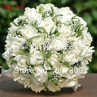New handmake 25cm colorful roses fake   artificial bouquet f...