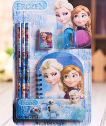 Wholesale Princess Set Pencil - 30set !Frozen princess doll pattern stationery set school supplies pencil case ruler sticker eraser kid gift