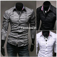 Wholesale Linen Shirt Colors - Hot Selling New Men's Shirts Drape Design Shirts Brand Shirts Casual Slim Fit Stylish Dress Shirts Men's Clothing 3 Colors M-XXL