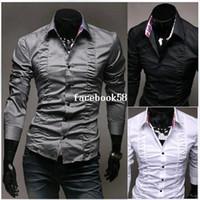 платье проектирование драпировки оптовых-Горячие продажи новые мужские рубашки драпировка дизайн рубашки Марка рубашки повседневная Slim Fit стильные рубашки Мужская одежда 3 цвета M-XXL