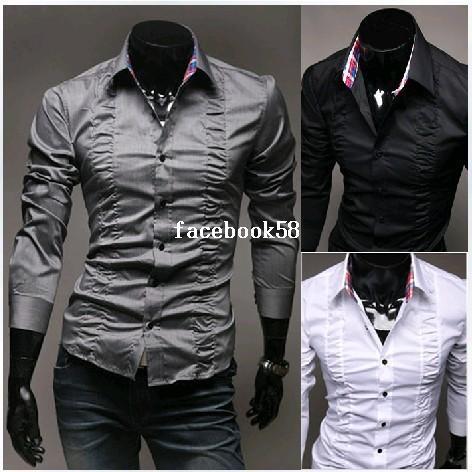 Hot Selling New Men's Shirts Drape Design Shirts Brand Shirts Casual Slim Fit Stylish Dress Shirts Men's Clothing 3 Colors M-XXL