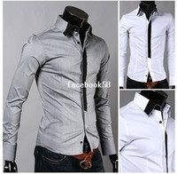 Wholesale Matching Shirt Tie - Free shipping Hot Sale Fashion long sleeve neckline false color matching tie cultivate one's morality men's shirts