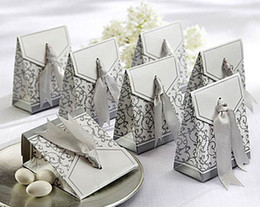 Wholesale Wedding Favours Free Shipping - Free Shipping 100pcs Silver Ribbon Wedding favour box Party Candy Box Favor Gift Boxes wedding box