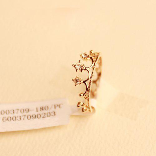 Partihandel - Rhinestone Studded Crown Ring