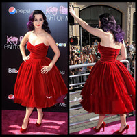 Wholesale Katy Perry Sexy Green Dress - Katy Perry Red Velvet Cocktail Dress Ball Gown Strapless Tea Length Celebrity Dress