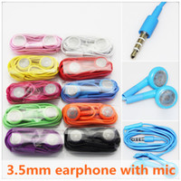 Wholesale Sumsung 4s - In-ear Stereo Earphone for iPhone6 6Plus 5S 4S for Sumsung HTC LG with Mic 3.5mm Plug Headset Colorful 100pcs