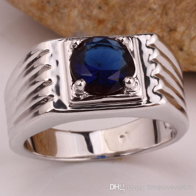 Single Blue Sapphire Stone Men Real 925 Silver Ring Size10 11 12 13 R516