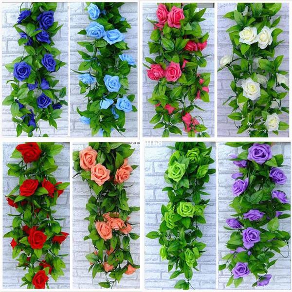 2014 boda azul y blanco Artificial Rose Silk Flower Green Leaf Vine Garland Home Wall Party Decor
