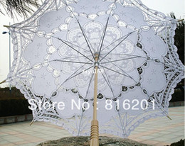 Wholesale Handicraft Fan - Fashion Free Shipping 100% handicraft cotton lace wedding parasol For Gride
