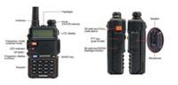 vhf radio uv 5r venda por atacado-Frete Grátis Novo baofeng uv 5r rádio em dois sentidos uv-5r dual band walkie talkie vhf / transceptor uhf rádio FM SOS lanterna + Fone de ouvido para livre