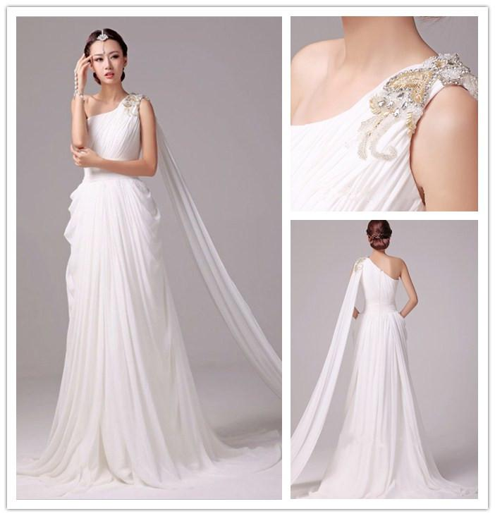 Greek Goddess Look One Shoulder Summer Wedding Dresses Beaded One ...