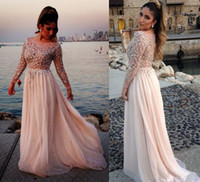 Wholesale Elie Saab Blue Chiffon Dress - 2014 2015 Elie Saab Sexy Lace Sheer Long Sleeves Chiffon Beach Formal Evening Dresses Sequins Beaded Backless Prom Pageant Gowns BO2258