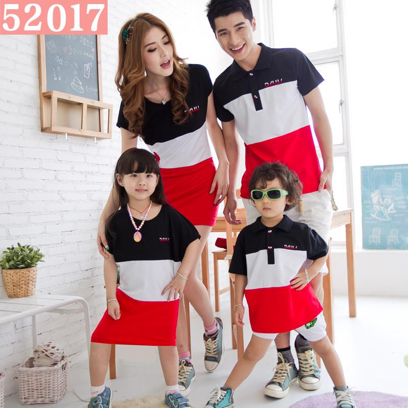 52017 Family Fashion Summer Color Block Polo Collar Male Child Short Sleeve T Shirt Female Child ...
