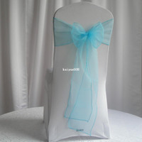 Wholesale Organza Chair Sashes Tie - Free Shipping!50PCS NEW Turquoise Blue Organza Chair Sashes For Weddings Bow Tie