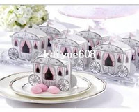 """Wholesale Cinderella Carriage Candy Boxes - Free Shipping 100pcs """"Enchanted Carriage"""" Fairytale Themed Favor Box Wedding Boxes Cinderella Pumpkin Carriage Candy Boxes"""
