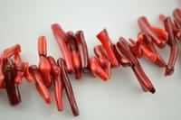 kırmızı yarı değerli boncuklar toptan satış-Kırmızı Deniz Bambu Mercan Uzun Şube Boncuk Yarı değerli taş gevşek Boncuk fit Moda kolye yapma lot başına 5 iplikçikler